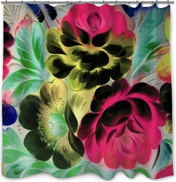 Sprchový závěs Olejomalba, impresionismus styl, malba textury, květina zátiší malířství malovaný barevný obraz,