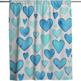 Sprchový závěs Srdce bezproblémové vzorek. modré akvarelové srdce. balení design pro dárkové krabičky.