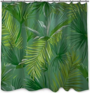 Sprchový závěs Tropické palmové listy, džungle listy bezešvé vektorové květinové vzorek pozadí