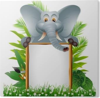 Carta da parati cartone animato elefante con segno in bianco