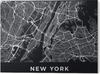 Stampa in PVC Mappa della città di New York scuro. cartina stradale di New York (Stati Uniti). illustrazione in bianco e nero (scuro) delle vie di New York. rete di trasporto della grande mela. formato poster stampabile (album).