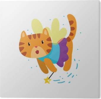 Stampa in PVC Simpatico gatto rosso alato con una bacchetta magica, illustrazione vettoriale di fantasia animale personaggio dei cartoni animati di fiaba