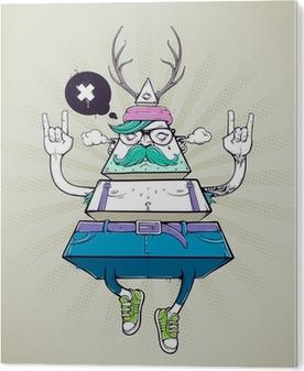 Stampa in PVC Triangolo hipster, personaggio bizzarro
