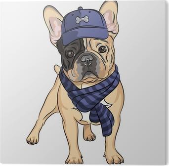 Poster vector divertente cartone animato hipster cane di razza