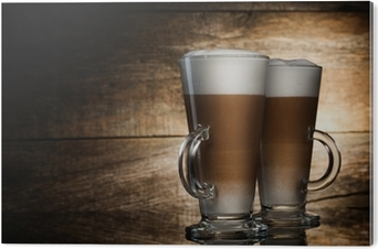 Carta da Parati Caffè profumato latte in bicchieri di vetro su ...