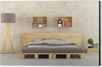 Carta da Parati Camera da letto moderna con letto pallet sul muro di ...