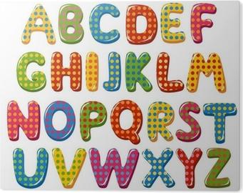 Carta Da Parati Lettere Dellalfabeto Colorate Con Motivo A Pois