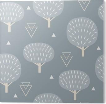 Stampa su Alluminio (Dibond) Seamless in stile scandinavo moderno. Vector geometria sfondo della natura nord.