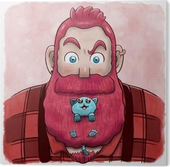 Stampa su Alluminio (Dibond) Uomo con la barba rosa con un gatto in barba