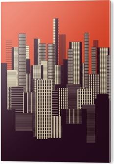 Stampa su Plexiglass Un tre colori grafica astratta manifesto paesaggio urbano in arancione e marrone