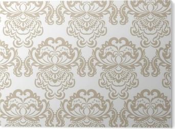 Stampa su Plexiglass Vector floral damask baroque ornament pattern element. texture di lusso elegante per tessuti, tessuti o sfondi sfondi. colore beige