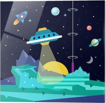 Stampa su vetro Alien paesaggio pianeta spazio con ufo - Scienze
