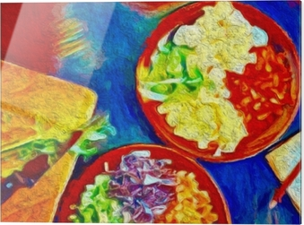 Stampa su vetro Pittura digitale colorata. poster con cibo ideale per decorazione caffetteria o ristorante. - Hobby e Tempo Libero