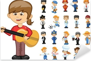 Мультяшные персонажи разных профессий Pixerstick Sticker
