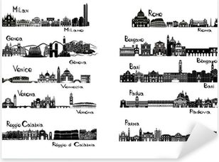 Sticker Pixerstick 10 villes d'Italie - signts silhouette
