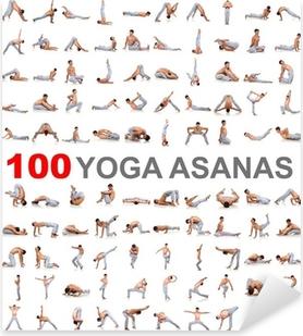 Pixerstick Sticker 100 yoga houdingen op een witte achtergrond