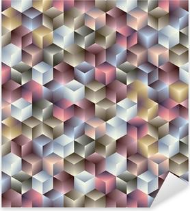 Sticker Pixerstick 3d cubes motif géométrique parfaite.