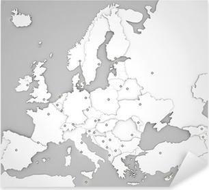 Pixerstick Sticker 3D-kaart van Europa met hoofdsteden in het wit