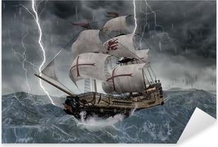 3D Segelschiff Galeone in stürmischer See Pixerstick Sticker