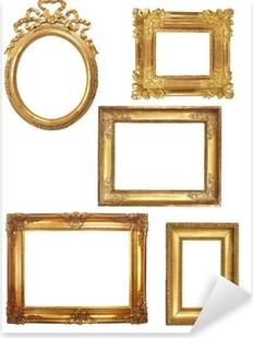 Pixerstick Sticker 5 oude houten frames op een witte achtergrond gouden