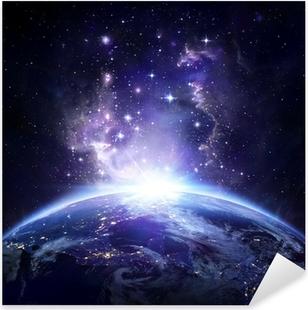 Pixerstick Sticker Aarde bekijken vanuit de ruimte 's nachts - USA