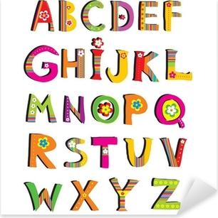 Sticker Pixerstick ABC. police fleur vecteur.
