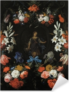 Abraham Mignon - Garland of Flowers Pixerstick Sticker