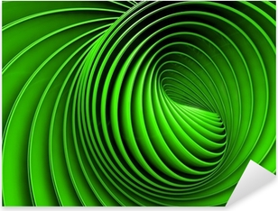 Abstract 3d spiral or twirl in green toned Pixerstick Sticker