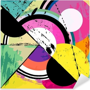 abstract circle background, with paint strokes Pixerstick Sticker