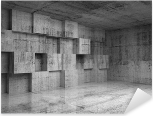 Abstract concrete 3d interior with decoration cubes on the wall Pixerstick Sticker
