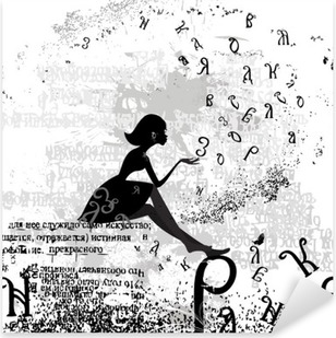 abstract design with a girl grunge text Pixerstick Sticker
