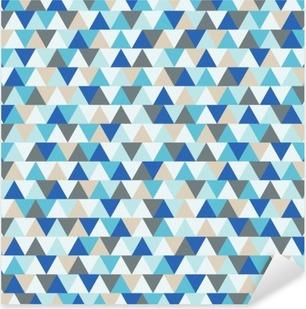 Pixerstick Sticker Abstract driehoek vector achtergrond, blauw en grijs geometrische patroon wintervakantie