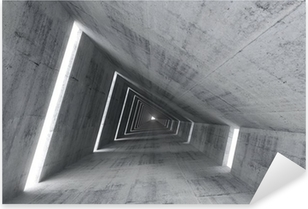 Abstract empty concrete interior, 3d render of pitched tunnel Pixerstick Sticker