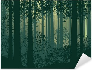 Abstract Forest Landscape Pixerstick Sticker