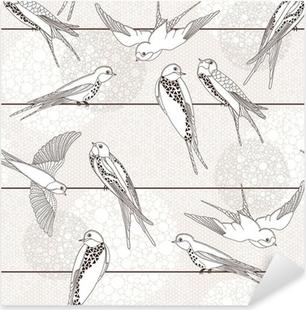 Abstract seamless pattern. Bird on the wires. Pixerstick Sticker