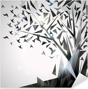 Abstract Tree with origami birds. Pixerstick Sticker