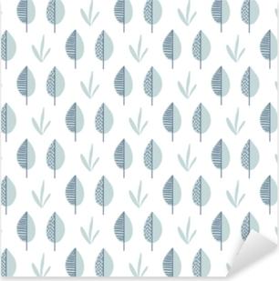 Abstract vector leaf pattern. Scandinavian seamless background Pixerstick Sticker