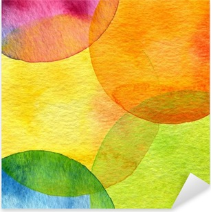 Abstract watercolor circle painted background Pixerstick Sticker