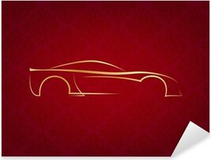 Pixerstick Sticker Abstracte kalligrafische auto logo op rode achtergrond