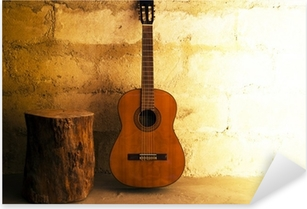 Acoustic guitar on old wall - copyspace Pixerstick Sticker