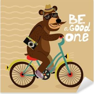 Sticker Pixerstick Affiche Hipster avec un ours de geek