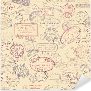 Sticker Pixerstick Affranchissement fond sur le thème de timbres vintage (carrelage)