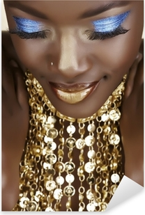 African woman with gold Pixerstick Sticker