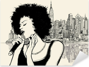 afro american jazz singer Pixerstick Sticker