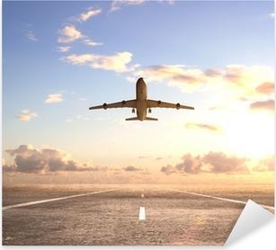 airplane on runway Pixerstick Sticker