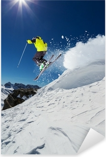 Pixerstick Sticker Alpine skiër springen van heuvel