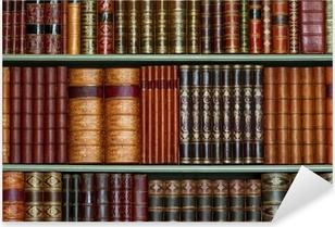 Sticker Pixerstick Ancienne bibliothèque de livres d'époque à couverture rigide sur les tablettes