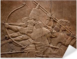 Sticker Pixerstick Ancient relief assyrien de guerriers combattant dans la guerre
