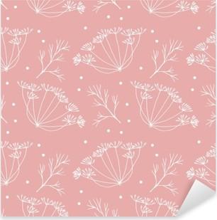 Sticker Pixerstick Aneth ou fenouil fleurs et feuilles de motif.