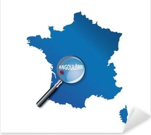 Sticker Pixerstick Angoulême: Carte de France - département Charente
